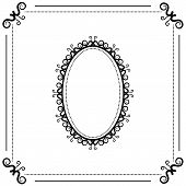 image of oval  - vintage black and white background with oval frame - JPG