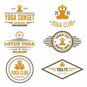 Set of vintage logo, badge, emblem or logotype elements for yoga club poster