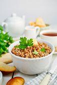 stock photo of buckwheat  - Healthy breakfast - JPG