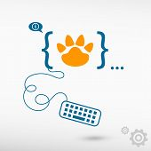 stock photo of bear tracks  - Paw icon and flat design elements - JPG