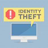 stock photo of theft  - minimalistic illustration of a monitor with a Identity Theft alert speech bubble - JPG