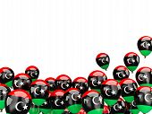 stock photo of libya  - Flying balloons with flag of libya isolated on white - JPG