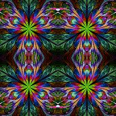 foto of symmetrical  - Multicolored symmetrical pattern in stained - JPG