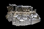 pic of cross-section  - Modern car engine and gear box isolated With clipping path cross section  - JPG