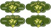 picture of virgin  - Collection of four labels with green olives and oil text Olive oil and Extra virgin - JPG