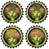 stock photo of virginity  - Collection of four labels with green olives and oil text Olive oil and Extra virgin - JPG