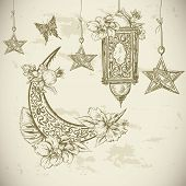 picture of moon-flower  - Traditional greeting card with arabic  lantern and flowers - JPG