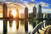 stock photo of marina  - skyline of Dubai Marina with boats United Arab Emirates Middle East - JPG