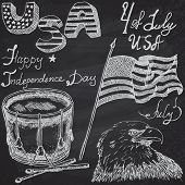 picture of drum-set  - Usa waving flag bald eagle and drum with drumsticks American symbols fourth of july set Hand drawn sketch text happy independence day on chalkboard - JPG