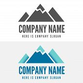 Logo, badge, label, logotype elements with mountains for web, business or other projects poster