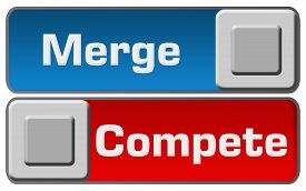 picture of merge  - Merge or compete concept image with two buttons - JPG