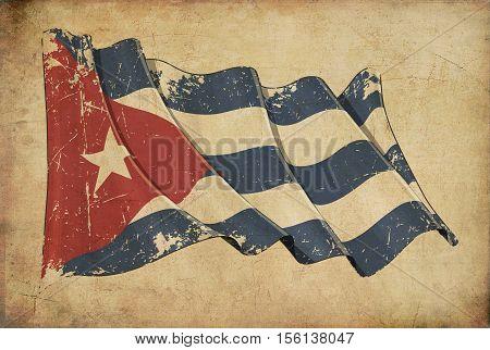 Cuban Grunge Flag Textured Background