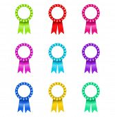 foto of rosettes  - vector illustration of Award Rosette  - JPG