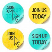 sign up and join us vector website buttons