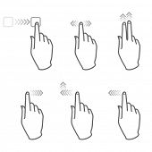 touch screen gesture, 5 (vector hand icons)