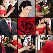 Постер, плакат: Коллаж из нескольких фотографий на тему свадьбы