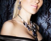 picture of vintage jewelry  - Tinted portrait of beautiful woman with  jewelry - JPG