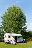 Mobile home white traveling outdoor