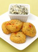 Spicy Crab Cakes With Spinach And Artichoke Dip poster