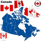 stock photo of canada maple leaf  - Canada vector set - JPG