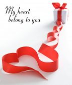 picture of heart valentines  - Stylized valentine heart made from red bow - JPG