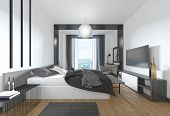 Luxurious, Modern Bedroom In Contemporary Style In Black And White. poster