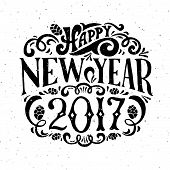 Vector Illustration Of New Year 2017 Logotype poster