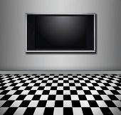 stock photo of high-def  - Flat screen tv hanging in a modern room - JPG