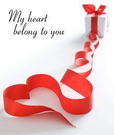 image of valentine heart  - Stylized valentine heart made from red bow - JPG