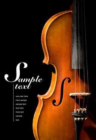 picture of string instrument  - Violin on black background  - JPG