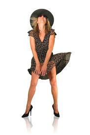 image of exhibitionist  - Attractive woman preventing skirt from blowing up - a.k.a. Marilyn ** Note: Slight blurriness, best at smaller sizes - JPG