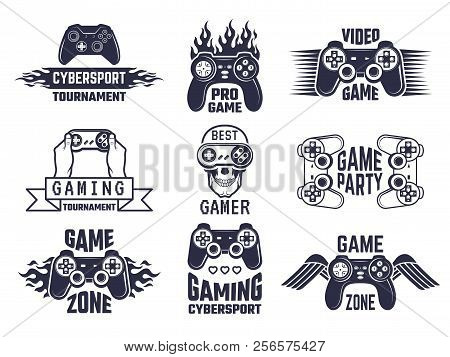 poster of Gaming Logo Set. Video Games And Cyber Sport Labels. Gamer Emblem Logo, Sport Cyber, Video Gaming, V
