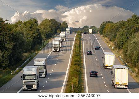 Trucks On The German Motorwayevening
