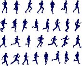 image of long distance  - 30 high quality silhouettes of people running  - JPG