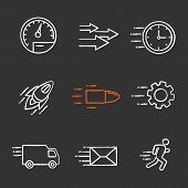 Motion Chalk Icons Set. Speed. Flying Clock, Startup, Bullet, Cogwheel, Van, Mailing, Running Man, S poster