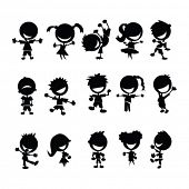 black kids silhouettes