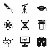 Scientific Research Icons Set. Simple Illustration Of 9 Scientific Research Icons For Web poster