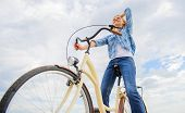 Enjoy Cycling Cruiser Bike. Woman Feels Free While Enjoy Cycling. Most Satisfying Form Of Self Trans poster