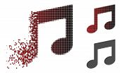 Music Notes Icon In Sparkle, Pixelated Halftone And Undamaged Solid Variants. Cells Are Organized In poster