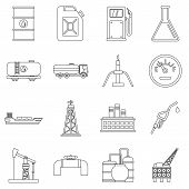 Oil Industry Items Icons Set. Outline Illustration Of 16 Oil Industry Items Icons For Web poster