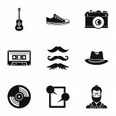 Hipster Culture Icons Set. Simple Illustration Of 9 Hipster Culture Icons For Web poster