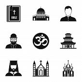 Religion Icons Set. Simple Illustration Of 9 Religion Icons For Web poster