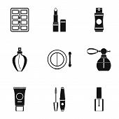 Cosmetic Products Icons Set. Simple Illustration Of 9 Cosmetic Products Icons For Web poster