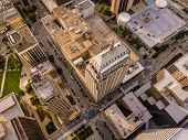 Dramatic close aerial view of skyscrapers in Oklahoma City, straight down view. poster