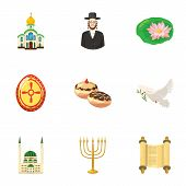 Religion Icons Set. Cartoon Illustration Of 9 Religion Icons For Web poster