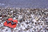 red shies with hearts on pebble beach