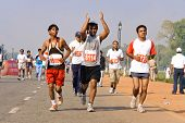 DELHI - OCTOBER 28: Group of young Indians running the Half Marathon on October 28, 2007 in Delhi, I