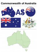 Australia collection including flag, map (administrative division), symbol, currency unit & glossy b