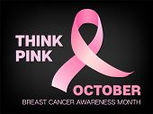 October Breast Cancer Awareness Month Vector Image. Realistic Pink Ribbon Illustration For Medical F poster