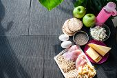 Fitness Food.  Theme Of Nutrition And Sports. Shredded Body. Sports Nutrition. Healthy Lifestyle poster